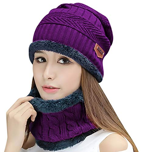 HINDAWI Winter Scarf Hat Womens Beanie Slouchy Knit Warm Snow Outdoor Skull Cap Purple