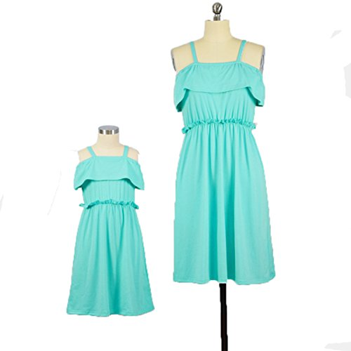 WIWIQS Mommy and Me Midi Dresses,Solid Off Shoulder Matching Dresses for Daughter and ()
