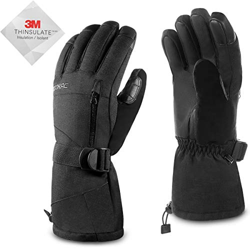 Men Waterproof Warmest Winter Gloves - Acokac Touchscreen Snow Snowboard Ski Gloves, 3M-Thinsulate Thermal Insulation Snowboarding Snowmobile Cold Weather Gloves(Black)