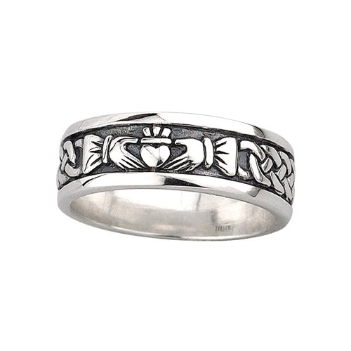 Claddagh Band Mens Oxidized Sterling Silver Sz 10