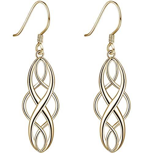 (Gold Plated 925 Sterling Silver Dangle Earrings Celtic Knot Design for Womens Girls Sensitive Ears)