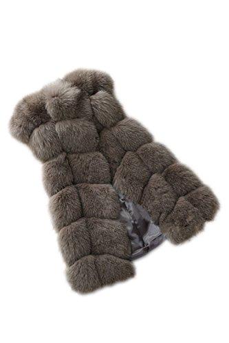 父方のカフェ話す女性のフェイクファーベストそでなしの暖かい冬のコート?ジャケット?ジレ