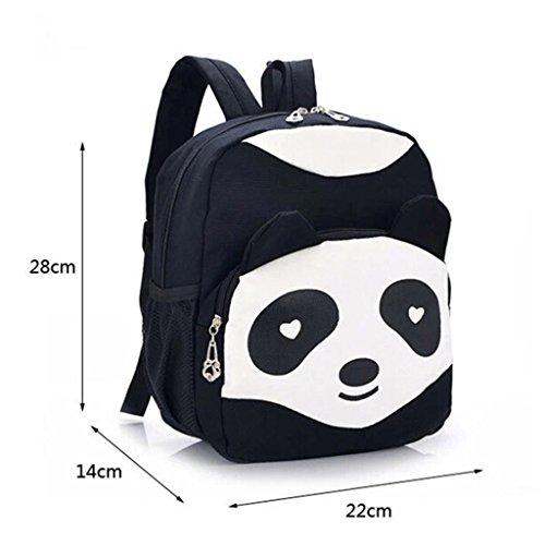 Niedlicher Panda Design Kind Rucksack Kinder Campus Studenten Canvas Tasche Schultasche Schwarz