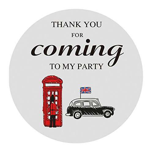 MAGJUCHE London British Thank You Stickers, Kids Baby Shower or Birthday Party Supplies, Decorations, Favor Labels, 2 Inch, 40-Pack
