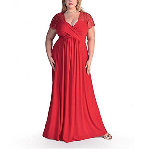 KUREAS Plus Size V Neck Lace Dress Prom Maxi Dress Gown