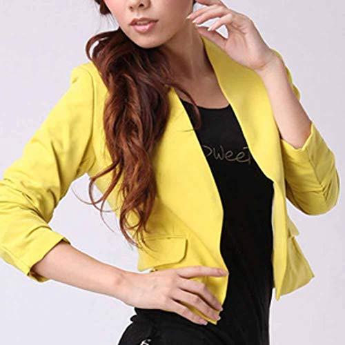Blazer Uni Bringbring Longues Manteau Femme Travail Slim Costume Veste de Outwear Couleur Jaune BolroManches awwrRCWq1