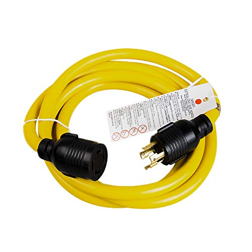 XUANHUA 10 FEET Heavy Duty Generator Locking Power Cord NEMA L14-30P/L14-30R,4 Prong 10 Gauge SJTW Cable, 125/250V 30Amp 7500 Watts Yellow Generator Lock Extension Cord with UL Listed-10 Feet (Yellow&