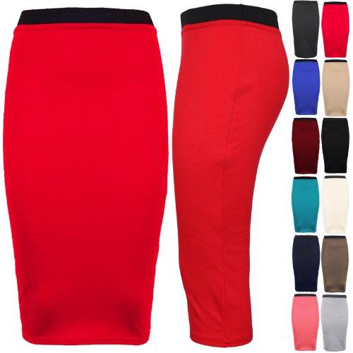 asfashion online - Falda tipo lápiz elástica, cintura alta, tallas 34 - 36- 38 - 40 -42 Teal