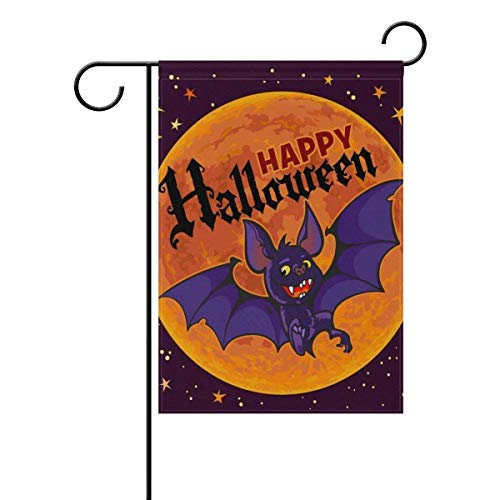Zoomber Happy Halloween Cartoon Full Moon Vampire Bat House Flag Party Yard Decorative Double Sided Polyester Large Garden Flag Banner 12x18 -