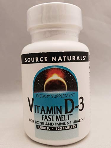Source Naturals 2000 IU Fast Melt Vit D3, Bone and Immune Health (Packaging May Vary)