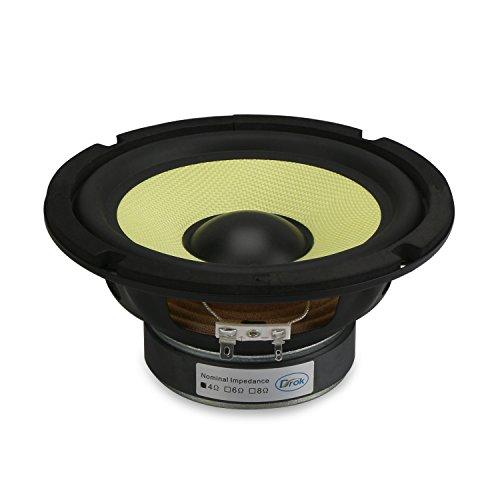 DROK 6 5'' Subwoofer Hifi Speaker Glass Fiber Mid-bass 4 Ohm Audio  Speakers, 88Db High Sensitivity Home Audio Stereo Speaker, 35W Loudspeaker  DIY