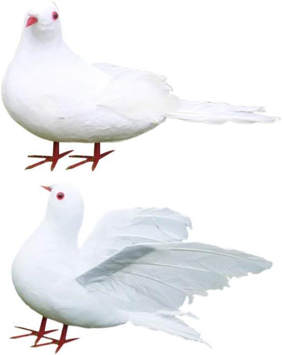 HEALLILY 2 Piezas Palomas Artificiales Pájaros Espuma Plumas Pájaros Palomas Blancas de La Paz Adornos DIY Artesanía para La Decoración de La Boda Accesorios de Fiesta