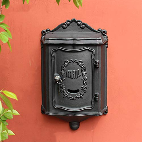 XY Wall-mount Letterboxes Mailbox - Cast Iron, European Retro Wrought Iron Villa Outdoor Outdoor Wall-mounted Mailbox Mailbox, Suitable For Villas, Courtyards, Homes - 2 Colors Available @
