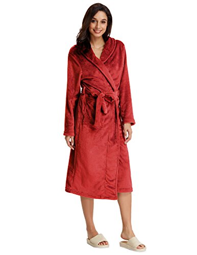 Women Thick Warm Robe Flannel Long Sleeve Plush Robe Wine Red Size S - Robe Red Flannel