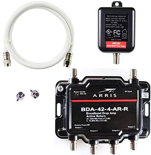 کریس 4 پورت آریس ، مودم ، تلویزیون ، OTA ، تقویت کننده سیگنال تقسیم کننده تقویت کننده HDTV ماهواره ای با بسته فعال کابل برگشتی و Coax - cableTVamps