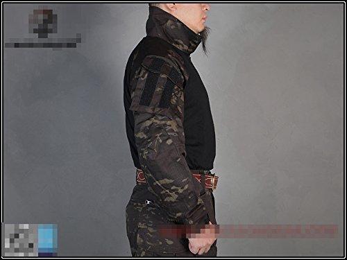 Worldshopping4U T/áctico Ej/ército Militar Shooting BDU Hombres Gen3/G3/Combate Camisa de Manga Larga con Coderas para Airsoft Paintball Multicam Negro