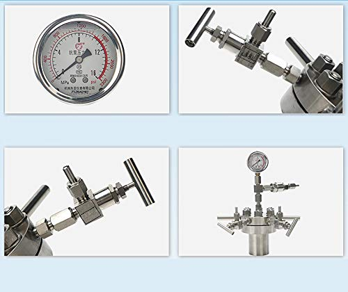 BAOSHISHAN 500ml Hydrothermal Synthesis Autoclave Reactor 16Mpa 300C with 316 Stainless Steel Lining Customized (500ml) by BAOSHISHAN (Image #1)