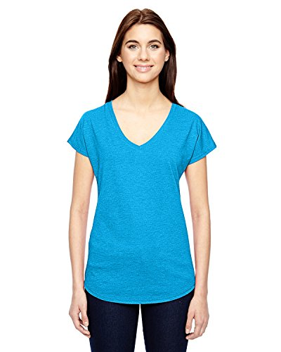Anvil Ladies Triblend V-Neck T-Shirt. 6750VL Hthr Carib Blue XL