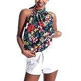 Women's Halter Strapless Floral Print Sleeveless Casual Tops Blouse Vest Tank Navy