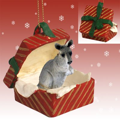 KANGAROO Grey in Red Gift Box Christmas Ornament New RGBA64