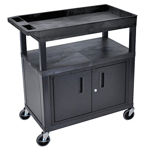 LUXOR EC122CE-B Cart with Cabinet and Electric, High Capacity, 2 Flat and 1 Tub Shelf, Black