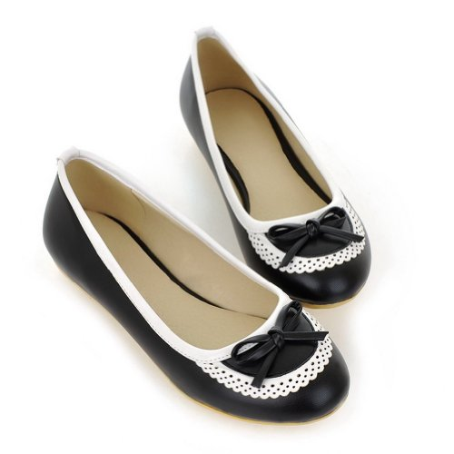 7 Closed whith Black WeenFashion Toe M Flats US Round Bowknot Solid PU Soft Material Women's B 75q5rFPwz