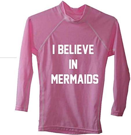 女の子用スイムシャツ SPF 50 ラッシュガード 紫外線保護 スイムTシャツ ピンク I Believe In Mermaids