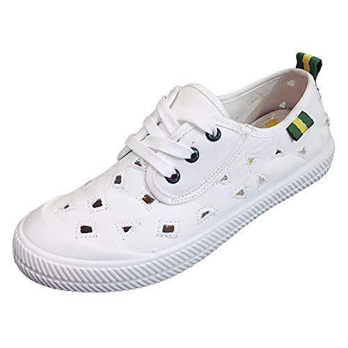 donna Blu Bianco Bianco Verde Sneakers Tacco piatto poliuretano PU tonda Comfort ZHZNVX White Punta Green Estate da Scarpe qOAxwHE