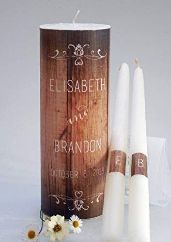(Rustic Wood Wedding Unity Candles)