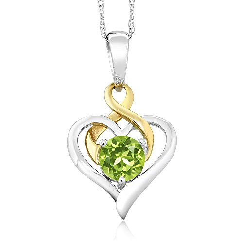 Gem Stone King 10K 2-Tone Gold 0.50 Ct Round Green Peridot Heart Pendant With Chain