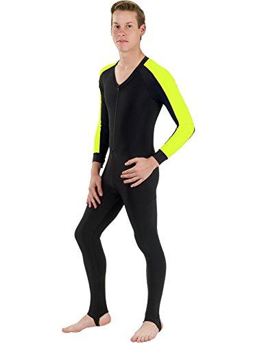 Phantom Aquatics Snorkeling Swim Lycra Skin Full Suit Wetsuit, Black/Yellow, Medium (Dive Skin)
