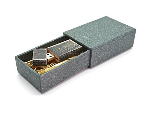 Maple Natural Stained - Maple Wooden Antique Style 8GB Flash Drive - Natural Eco Vintage Collection USB 2.0 8 GB Thumb Drive - Stained in Nightshade Black - Super strong hand made 2 piece paper box with Raffia grass inside
