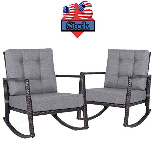 onEveryBaby Outdoor Rocking Chair, Set of 2 Patio Wicker Chair Glider Lounge Furniture with 5″ Thick Cushion