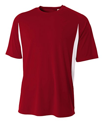 - A4 Men's Cooling Performance Color Block Short Sleeve Tee, Cardinal/White, Medium