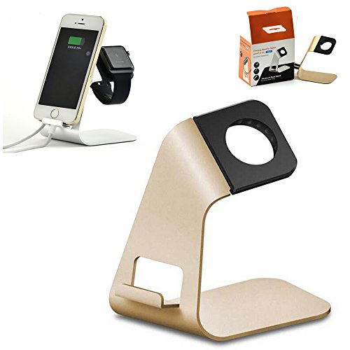 Metal Aluminum Charging Dock Station Lazy Desk Bracket Stand Desktop Holder Mount Universal For Apple iWatch All Watch iPhone X 6 7 8 Plus iPad Air Pro Mini and other Cell Mobile Phone Tablet (Gold) from Motor-acc