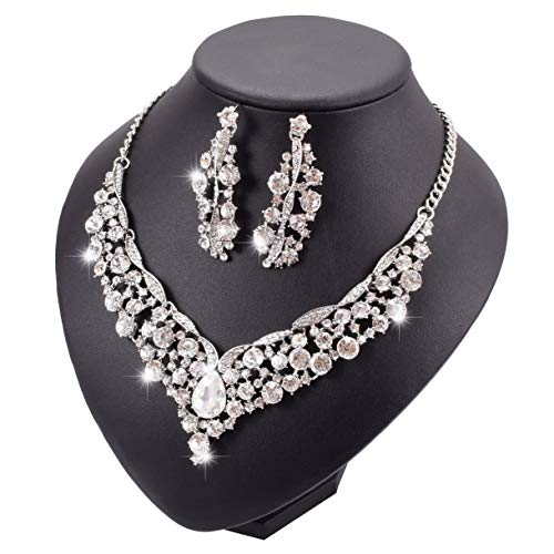 Yuhuan Women Wedding Bridal Necklace and Earring Glass Statement Jewelry Set (277#Silver)