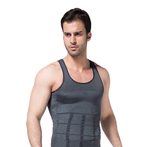 Encounter Herren Shapewear Unterhemd Tank Top Sport Shirt Body Shaper ärmellos Weste Achselshirt Funktionswäsche Bauchweg (M, Grau)