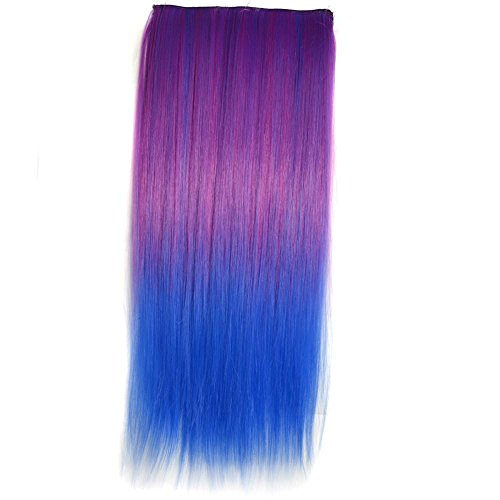 [Vibola Masquerade Gradient Color Hair Wig Anime Cosplay Straight Wig Head Clip Colored Synthetic Wig One Hair Piece] (Mullet Costumes Wig)