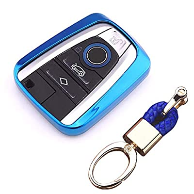 Royalfox(TM Luxury Soft TPU Smart 4 Buttons Key Fob case Cover for BMW i3 i8 2014 2016 2020 with Keychain Key Ring BMW i Key Cover (Blue): Automotive