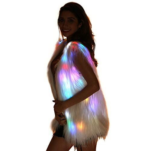 Light Up Jacket Women Faux Fur Coat Furry Led Vest Glow Waistcoat White Fuzzy Burning Man Rave Outfits Light Up Costumes (LED -