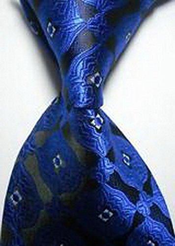 [Calvinci - Classic Pattern Blue Black JACQUARD WOVEN 100% Silk Men's Tie Necktie TGIN 120117] (Classic Playboy Bunny Costume Black)