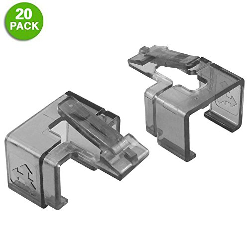 20 Pack Plug SOS Clips in Black, for RJ45 Connector Fix/Repair and Color Coding/Management, NO Crimp Tool Needed