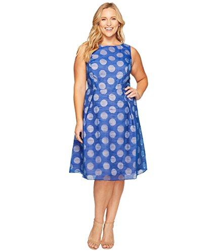 結紮存在メトリック[アドリアナパペル] Adrianna Papell レディース Plus Size Pop Dot Burnout Sleeveless Fit and Flare ドレス [並行輸入品]