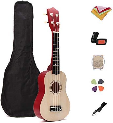 ギター 子供学生初級小型チューナーバッグ付きギター21インチのバスウッドウクレレハワイギターインストゥルメント クラシック ギター (Color : As shown, Size : 21inch)