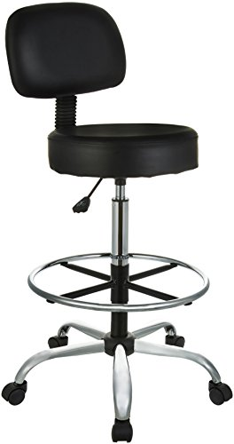 AmazonBasics Drafting Stool with Adjustable Foot Rest – Black For Sale