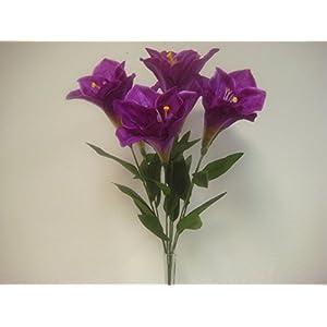 "Phoenix Silk PURPLE Deluxe Amaryllis Bush Satin Artificial Flowers 25"" Bouquet 7-785PU 104"