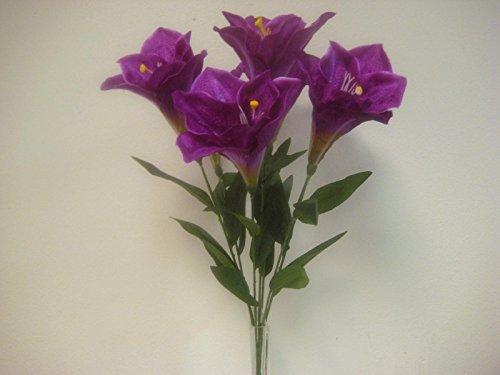Phoenix Silk PURPLE Deluxe Amaryllis Bush Satin Artificial Flowers 25