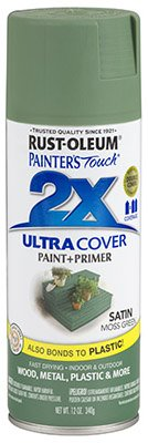 Rust-Oleum 2x Ultra Cover Spray Paint Indoor / Outdoor Moss Green Satin 12 Oz (Paint For Wicker Furniture For Outdoor)