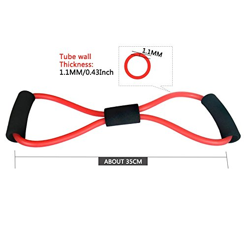Exercise Bands Resistance Exercise, Figure 8 Fitness Equipment Tube Workout Exercise Elastic Resistance Band for Yoga (Set of 5)