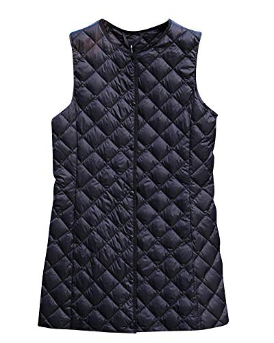 Quge Women's Lightweight Down Vest Long Diamond-Shaped Collarless Jacket Black